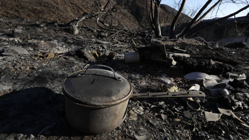 A burned pot and cooking stove, believed to have been used in a homeless encampment, in a canyon on Sepulveda Blvd. less than 100 yards from the 405 Freeway overpass in Los Angeles on Dec. 12, 2017.