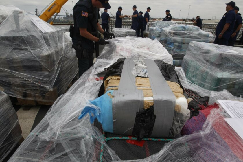 The crew of the USCG Stratton unloaded 34 tons of cocaine that it brought to San Diego after a four month operation in the Eastern Pacific off the coast of Central and South America involving the US Navy, DEA and other partner agencies.  Mandatory Credit