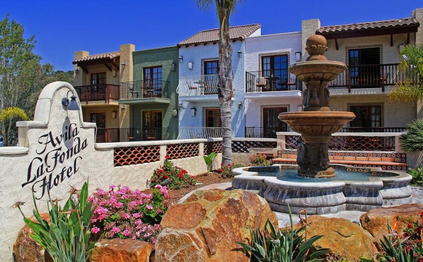 The Avila La Fonda Hotel looks like a 19th century Mexican village set in a Central Coast beach town.
