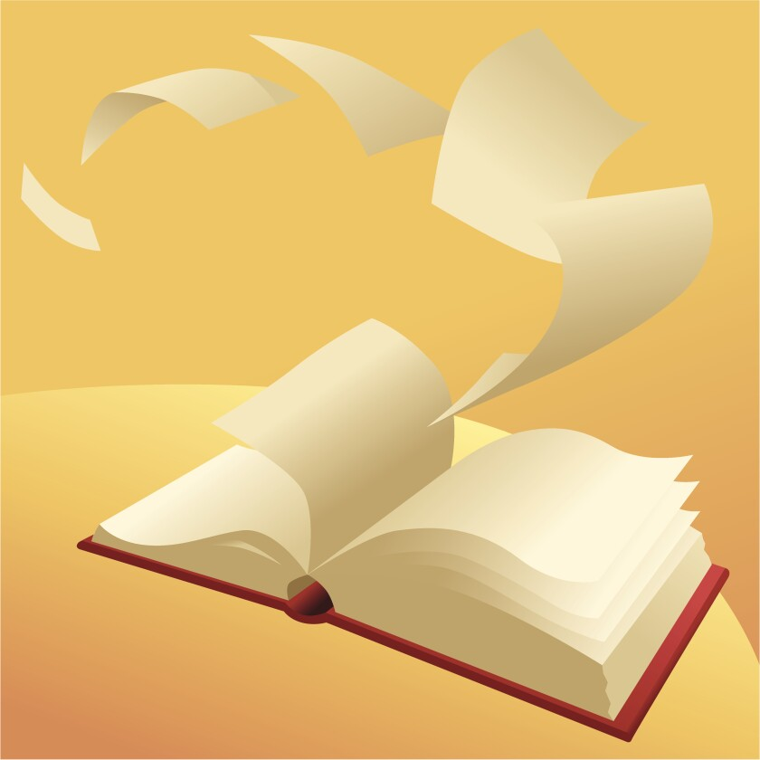 Shown is an illustration of a book with the pages flying away.
