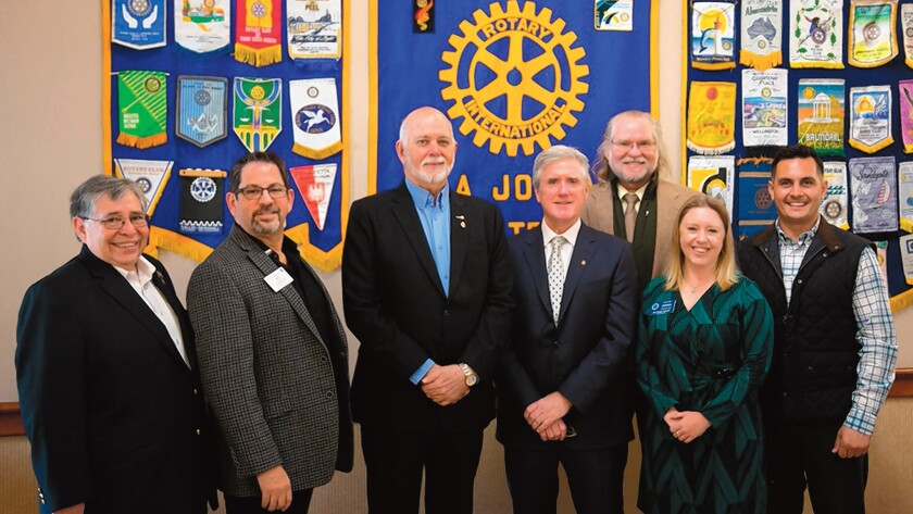 Rotarians United: Mel Gallegos, Rick Binder, Barry Rassin, Kevin Quinn, Dr. Henri Migala, Jessica Long and Kilma Lattin