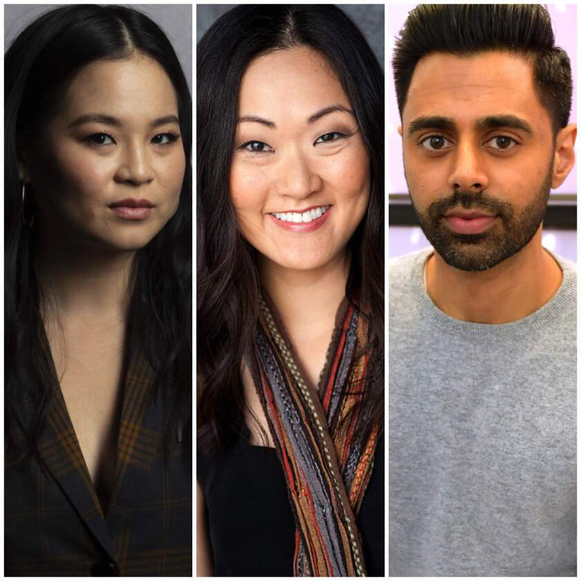 A triptych of actors Kelly Marie Tran, Jully Lee and Hasan Minhaj.