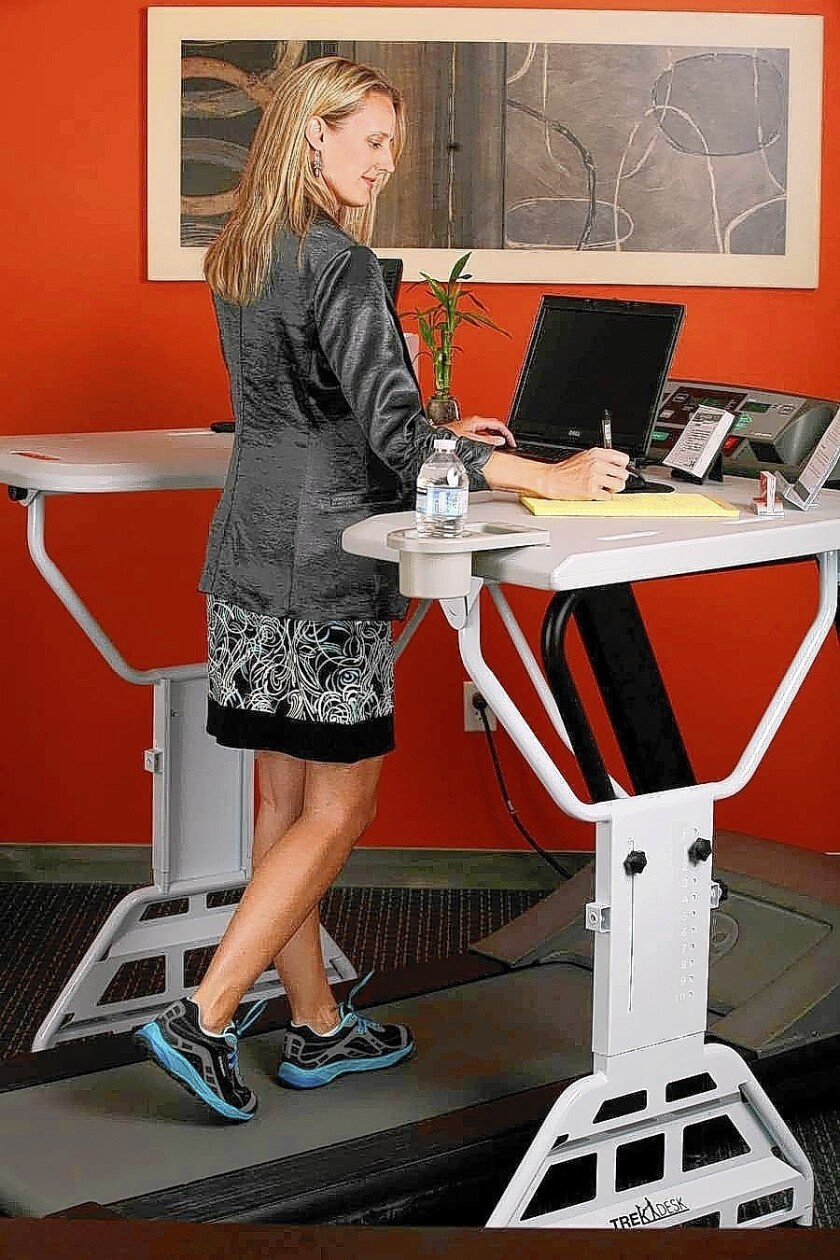 A treadmill desk from TrekDesk lets you workout at work.