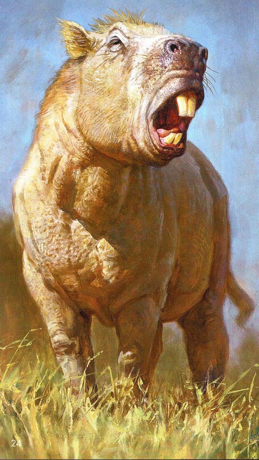 This artist's impression shows Josephoartigasia monesi, a rodent with fearsome front teeth that lived roughly 3 million years ago and weighed about one ton.