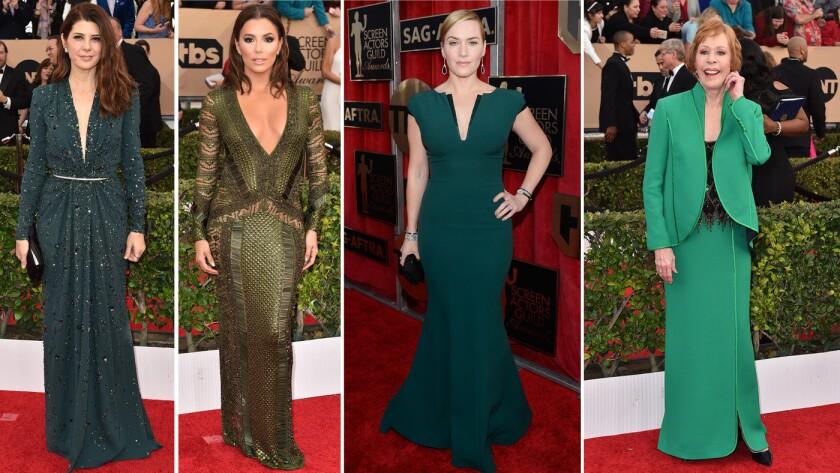 Green dresses at the SAG Awards
