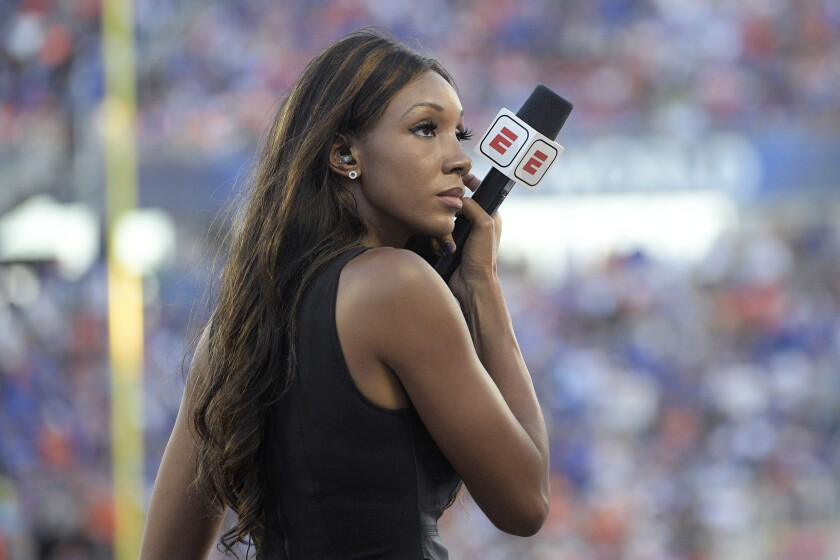 ESPN's Maria Taylor works from the sideline