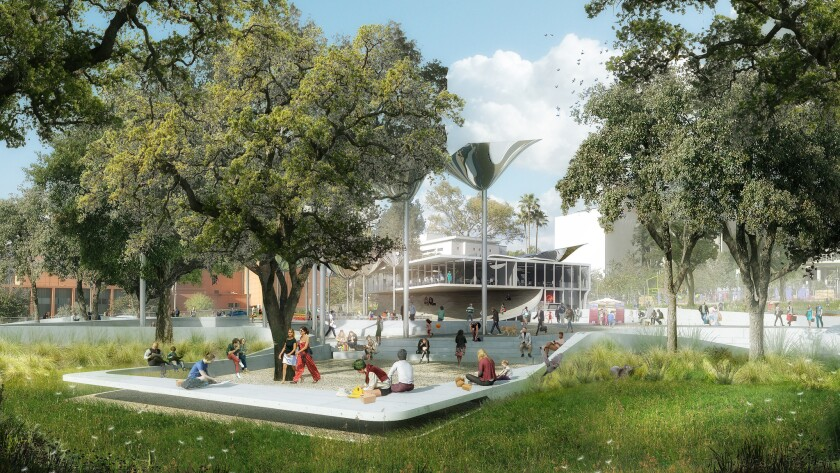 Mia Lehrer's winning design for the First and Broadway Park in downtown L.A. includes a two-story restaurant building overlooking a central plaza.
