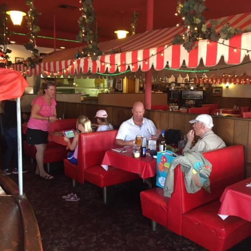 Three generations of the McGowan family dine at Pernicano's Family Restaurant in Pacific Beach.