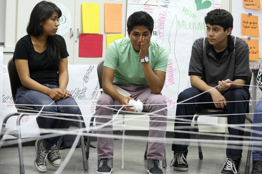 Students share their stories at the Miguel Contreras Learning Complex.