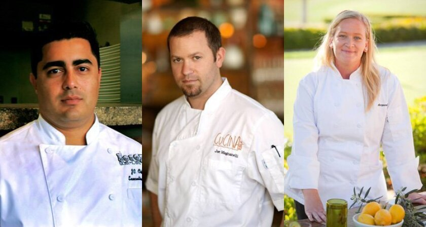 JC Colón, Executive Chef of Leroy's Kitchen + Lounge; Joe Magnanelli, Executive Chef of Urban Kitchen Group; Margaret Nolan Carvallo, Pastry Chef at Rancho Bernardo Inn
