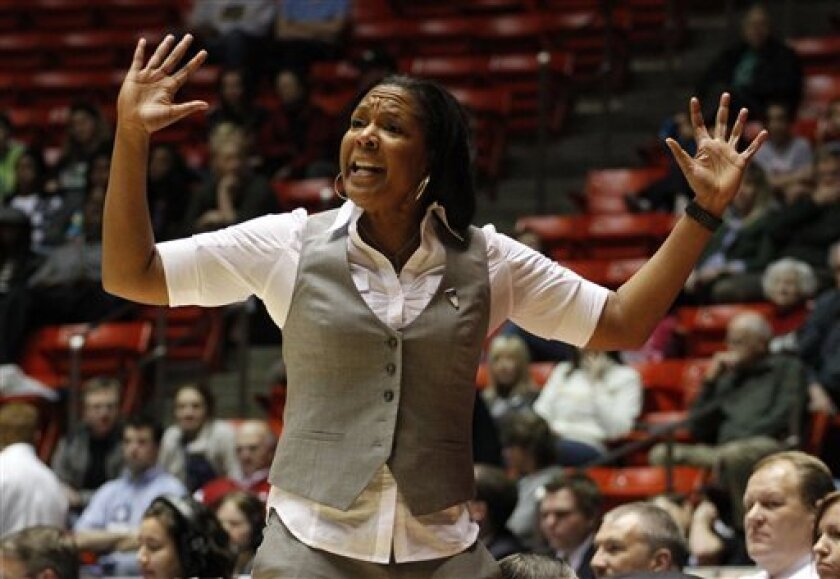 Temple head coach Tonya Cardoza argues a call during the first half of their second-round game of the NCAA women's college basketball tournament against Notre Dame Monday, March 21, 2011, in Salt Lake City. (AP Photo/Jim Urquhart)