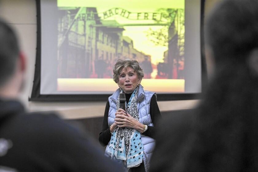 Psychologist Edith Eva Eger, a Holocaust survivor who was a prisoner at Auschwitz, speaks at Whittier Law School's Jewish Law Society on Wednesday in Costa Mesa.