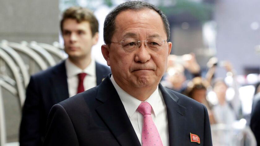 North Korean Foreign Minister Ri Yong Ho speaks outside the U.N. Plaza Hotel in New York on Sept. 25