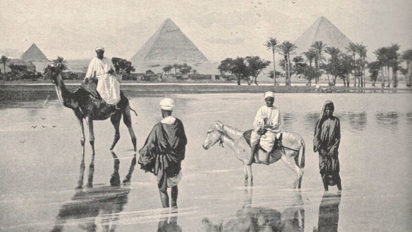 "The ""John L. Stoddard Lecture Series,"" which chronicled exotic destinations, including this one of Great Pyramids at Giza in Egypt, illustrate the Victorian adventurer's travels around the world."