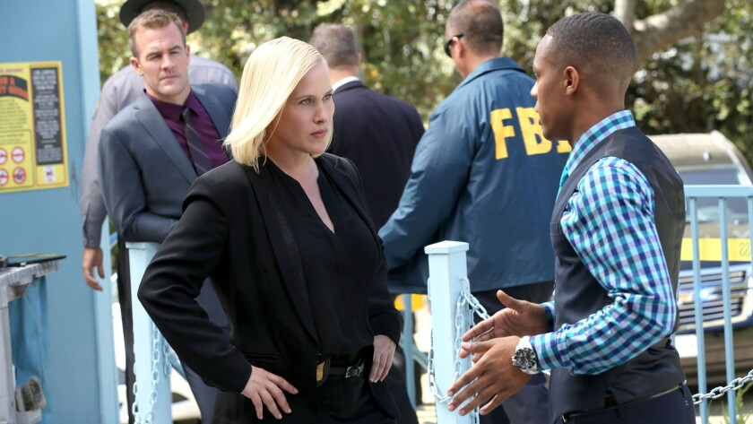 "James Van Der Beek, left, Patricia Arquette and Shad Moss in ""CSI: Cyber"" on CBS."