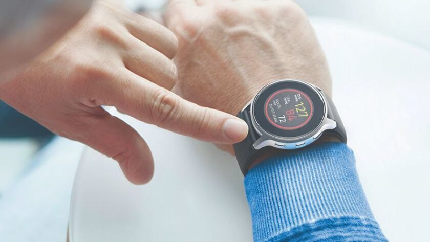 The first blood-pressure wrist watch. Using a patented inflatable wrist band, the Omron HeartGuide