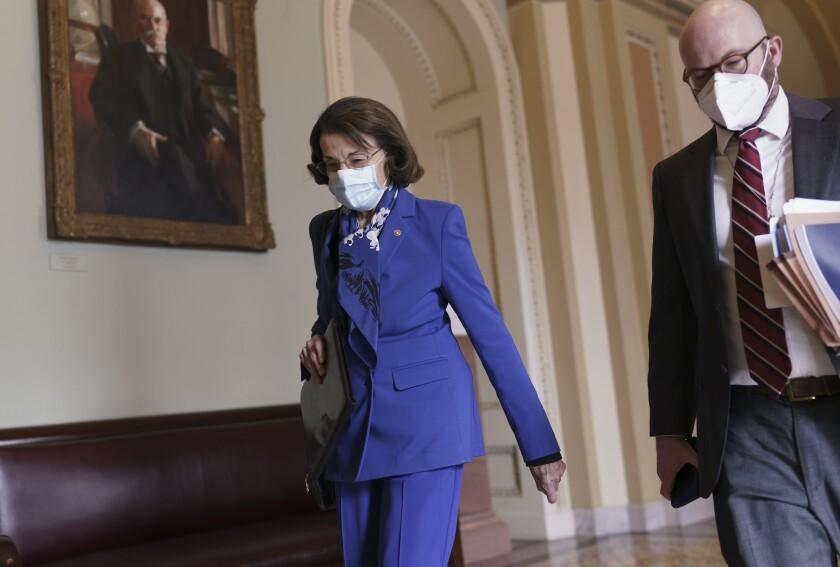 Sen. Dianne Feinstein arrives at the Senate on Feb. 10.