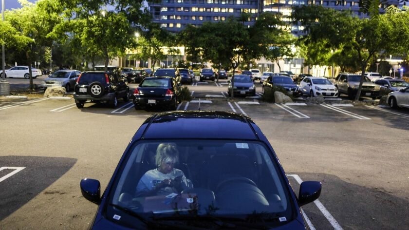 SAN DIEGO, CA -- SUNDAY, OCTOBER 22, 2018-- Kimberly Dominique chooses to stay at hospital parking l