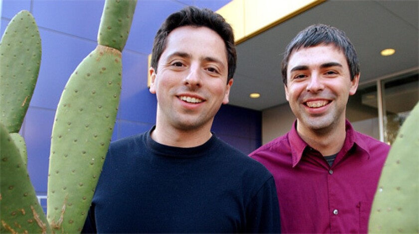 ARCHITECTS: Google co-founders Sergey Brin, left, and Larry Page have acknowledged that their firm has an unconventional bent.
