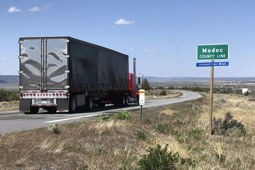 A truck crosses the Modoc County Line on May 1.