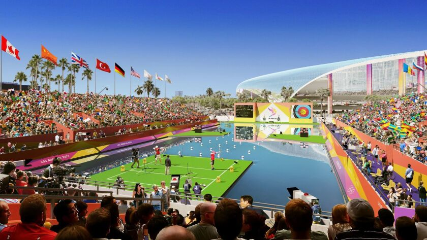 A rendering of what the archery competition might look like inside the LA Stadium and Entertainment District at Hollywood Park.