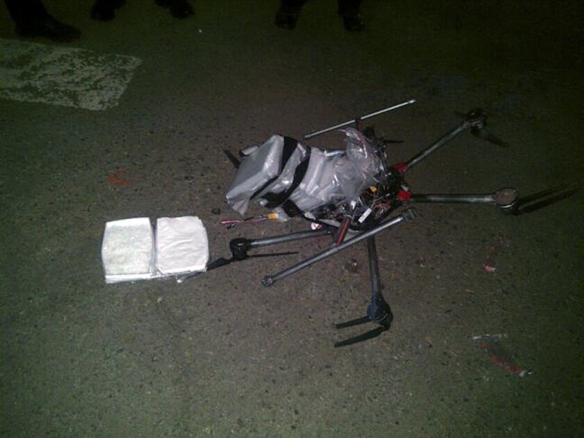 A drone loaded with packages of methamphetamine crashed into a supermarket parking lot in Tijuana in January 2015. More than six pounds of the drug were taped to the six-propeller remote-controlled aircraft.