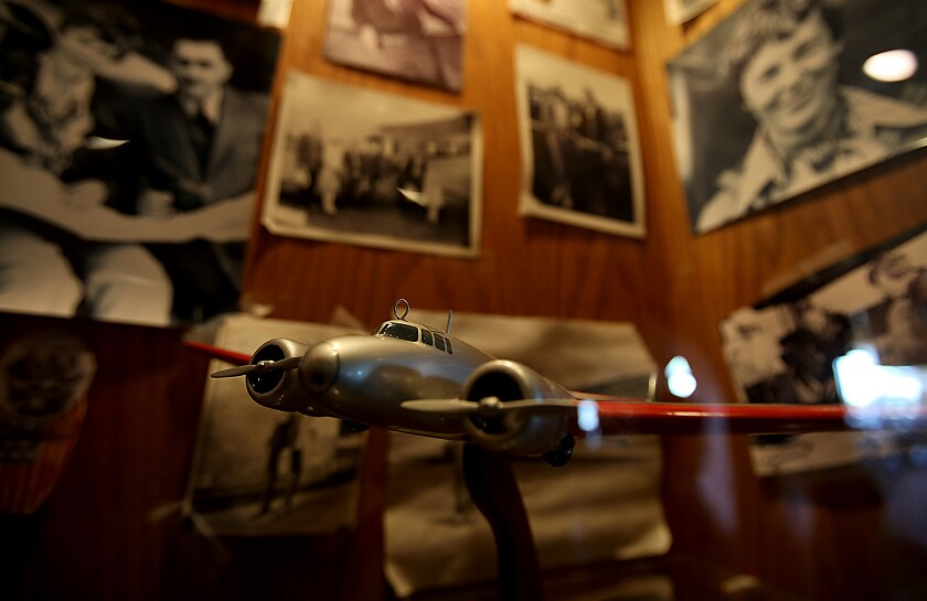 A display that features the exploits of aviatrix Amelia Earhart showcases some of the memorabilia at the Proud Bird restaurant on land belonging to Los Angeles International Airport.