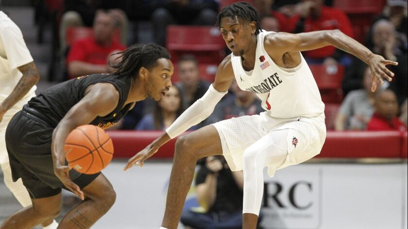 SDSU sophomore Jalen McDaniels (right), shown here against Cal State Dominguez Hills, was named second team all-Mountain West.