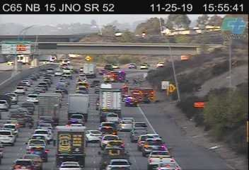 One lane of north I-15 near Miramar closed as firefighters tackle several spot fires