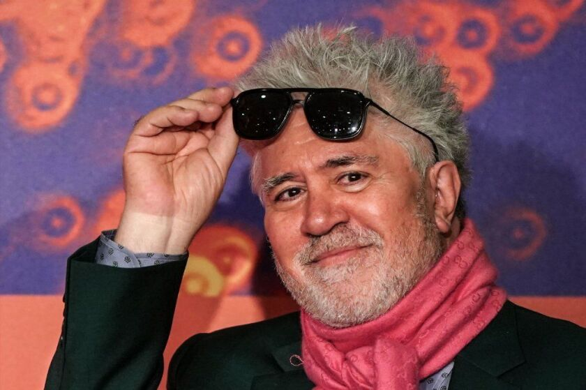 """Director Pedro Almodóvar arrives a press conference for the film """"Dolor Y Gloria (Pain and Glory)"""" at the 72nd Cannes Film Festival in Cannes, southern France, on Saturday."""