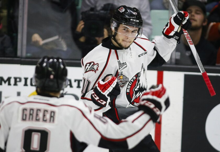 Rouyn-Noranda Huskies' Martins Dzierkals celebrates his goal against the Red Deer Rebels during the first period of a CHL Memorial Cup hockey game Friday, may 27, 2016, in Red Deer, Alberta. (Jeff McIntosh/The Canadian Press via AP)