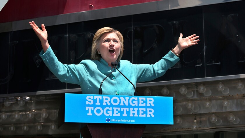 Democratic presidential candidate Hillary Clinton speaks on the Boardwalk in Atlantic City, N.J. on July 6.