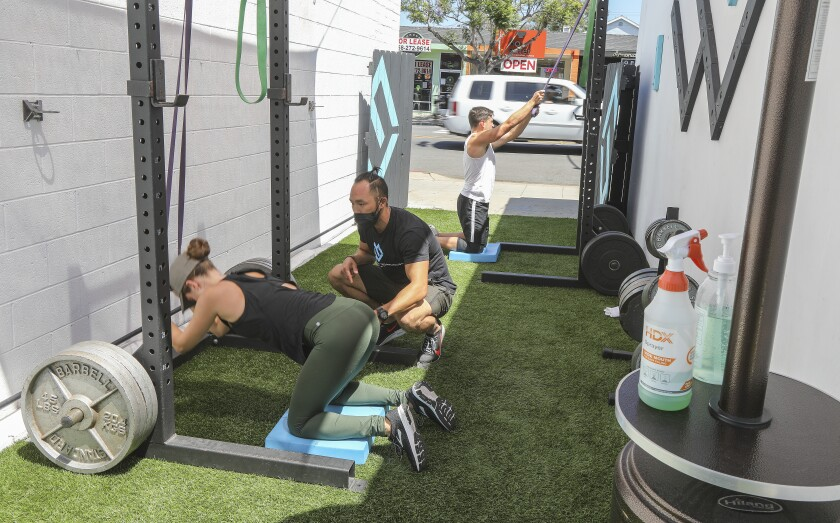 Outside workouts at The Movement Warehouse gym in Pacific Beach.