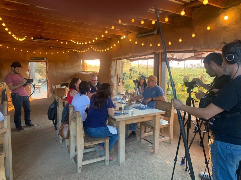Filming under way at Deckman's en el Mogor restaurant in Baja's Valle de Guadalupe