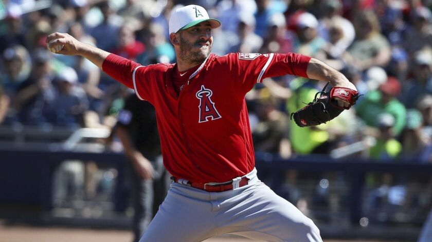 Los Angeles Angels starting pitcher Matt Harvey throws a pitch against the San Diego Padres during t