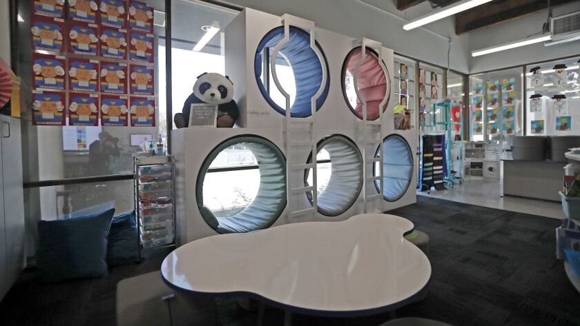 New furniture in a transitional kindergarten class include reading circles.