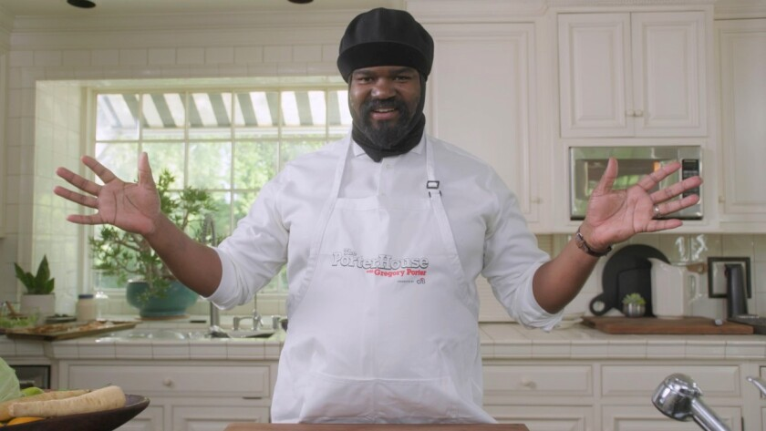 """His kitchen is his stage in jazz singer's six-episode cooking series, """"The PorterHouse with Gregory Porter,"""" now on YouTube."""