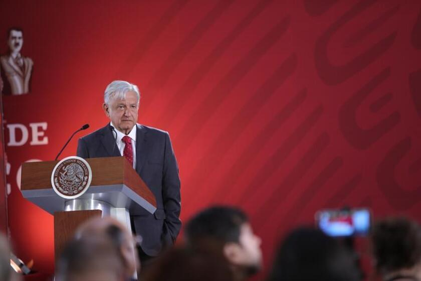 Mexican President Andres Manuel Lopez Obrador speaks at a press conference at the National Palace in Mexico City, Mexico, Feb. 26, 2019. Obrador exhorted on Tuesday the dialog in Venezuela to achieve a 'peaceful solution' between the parties and defended the freedom of expression after the event occurred in the last hours with a Univision team. EPA-EFE/ Sashenka Gutierrez