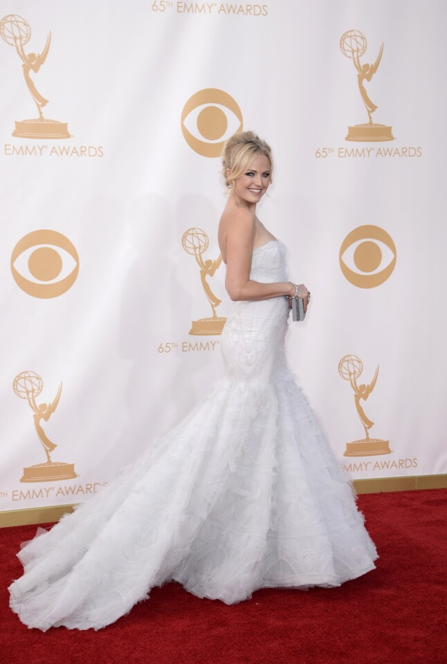 Malin Akerman, wearing Marchesa, arrives at the 65th Primetime Emmy Awards.