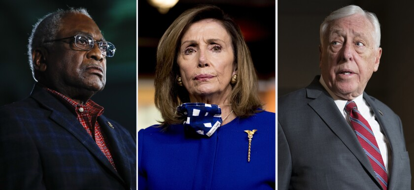 This combination of fie photo shows from left, Rep. James Clyburn, D-S.C. on Feb. 29, 2020, in Columbia, S.C., House Speaker Nancy Pelosi of Calif., on July 24, 2020 in Washington and House Majority Leader Steny Hoyer, D-Md., on March 3, 2020, in Washington. Hoyer and No. 3 party leader Clyburn, Congress' highest ranking Black member, were reelected to their positions, like Pelosi without opposition on Wednesday, Nov. 18, 2020.