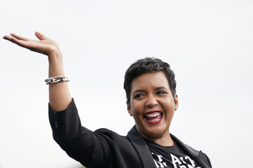 Atlanta Mayor Keisha Lance Bottoms arrives to speak during a drive-in rally for Democratic presidential candidate former Vice President Joe Biden at Cellairis Amphitheatre in Atlanta, Tuesday, Oct. 27, 2020. (AP Photo/Andrew Harnik)