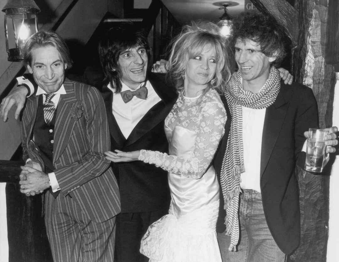 Best men Charlie Watts and Keith Richards flank just-married Ronnie Wood and Jo Howard in 1985.