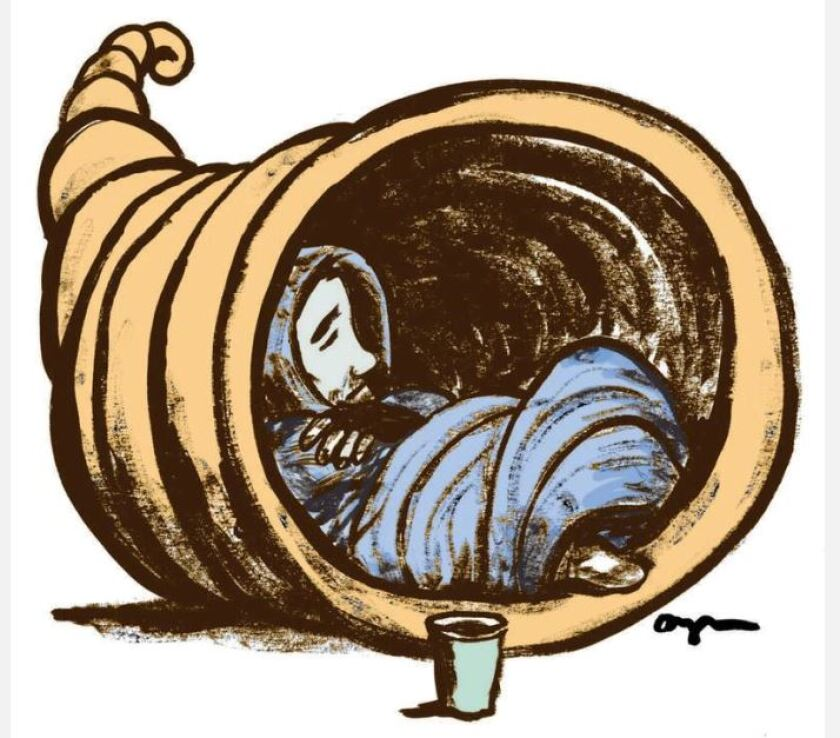 illustration of an unhoused person sleeping in a cornucopia