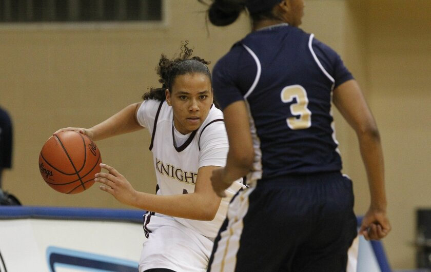 Bishop's Destiny Littleton (shown in a game last season) scored 36 points in the Knights' 64-55 win over Mater Dei Catholic on Monday.
