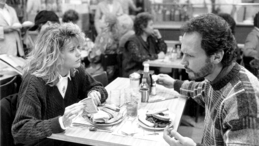 "Meg Ryan and Billy Crystal in Nora Ehpron's ""When Harry Met Sally."""