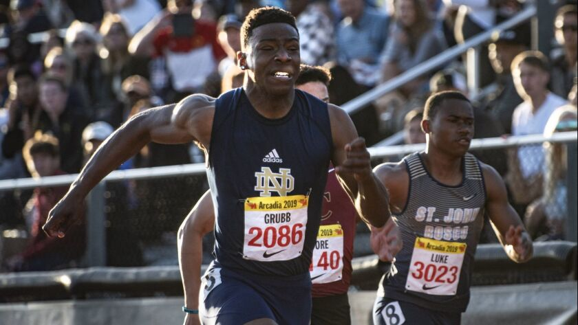 Christian Grubb of Notre Dame competes in the Men's 100 Meter Dash Invitational during the Arcadia I