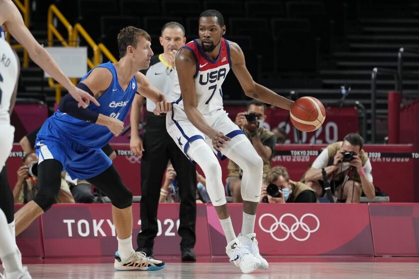 U.S. forward Kevin Durant dribbles.