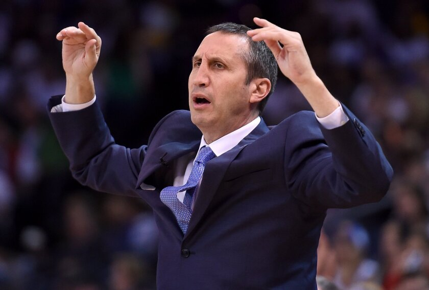 David Blatt reacts after a call against Cleveland during a game against Golden State on Dec. 25.
