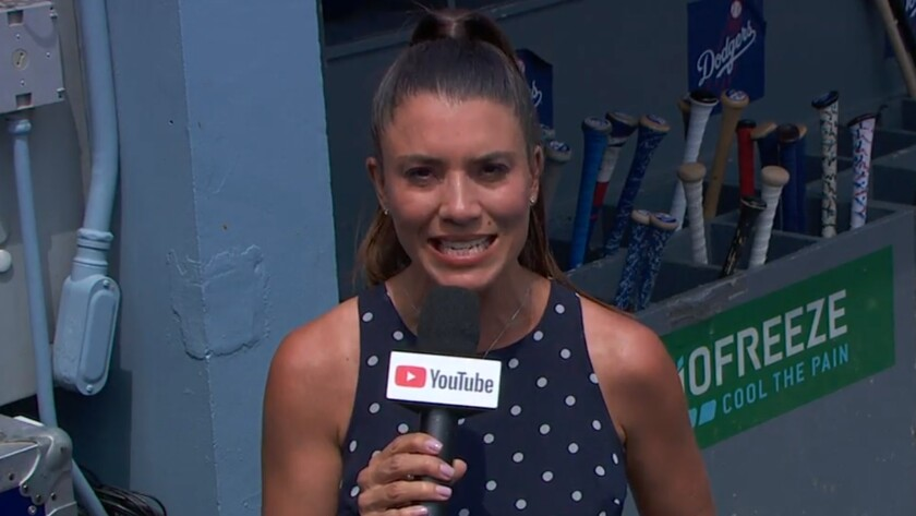 Alanna Rizzo reports from the Dodgers dugout during Wednesday's YouTube broadcast.