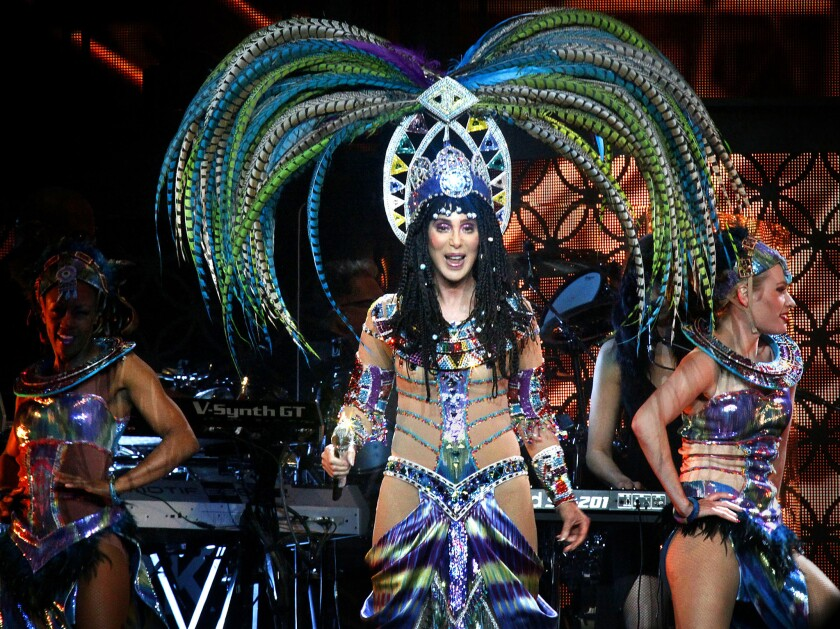 Cher performing at Staples Center in Los Angeles on July 7, 2014.